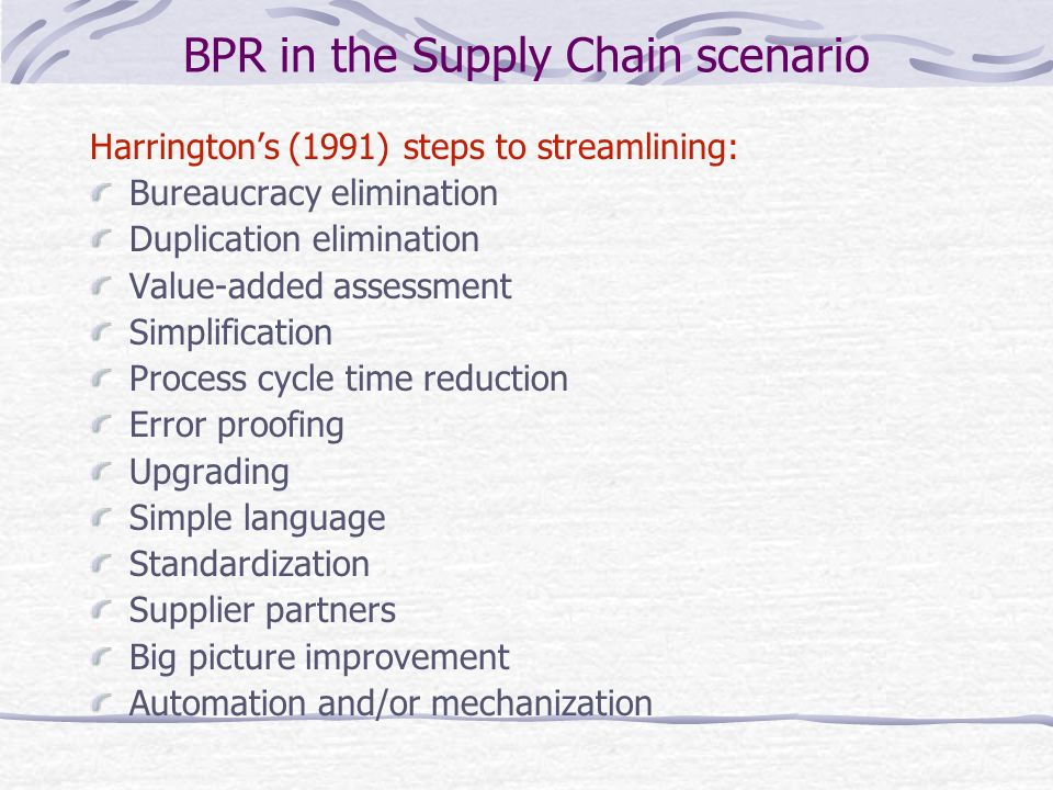 BPR in the Supply Chain scenario