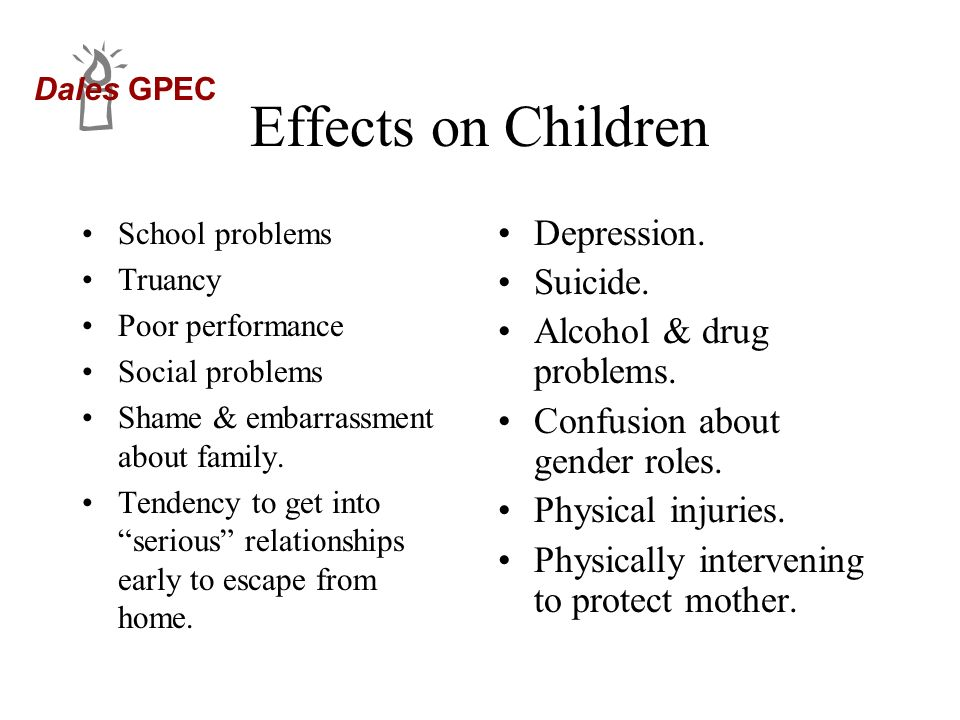 Effects on Children Depression. Suicide. Alcohol & drug problems.