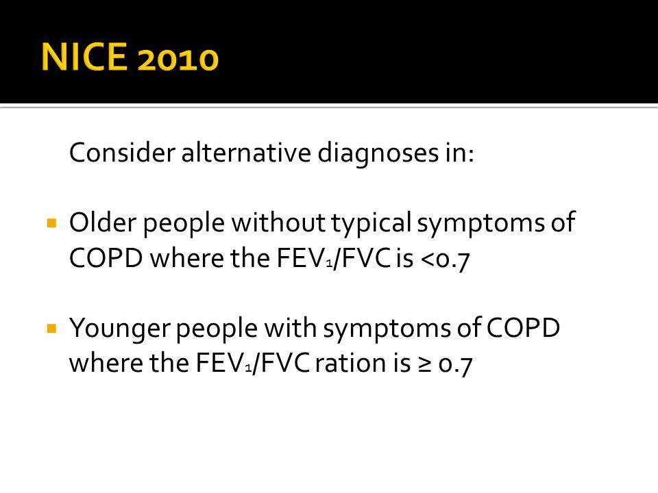 NICE 2010 Consider alternative diagnoses in: