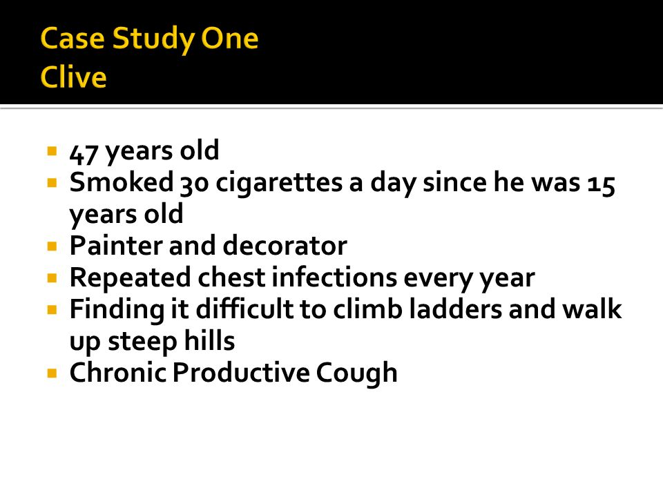 Case Study One Clive 47 years old