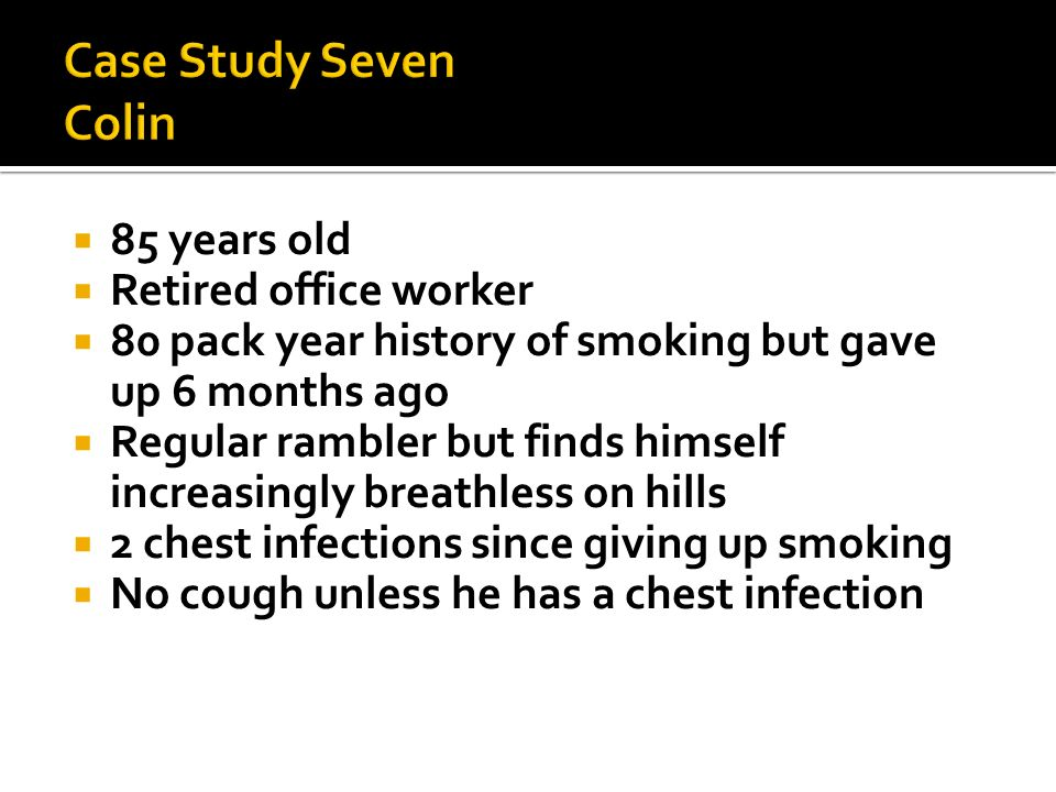 Case Study Seven Colin 85 years old Retired office worker