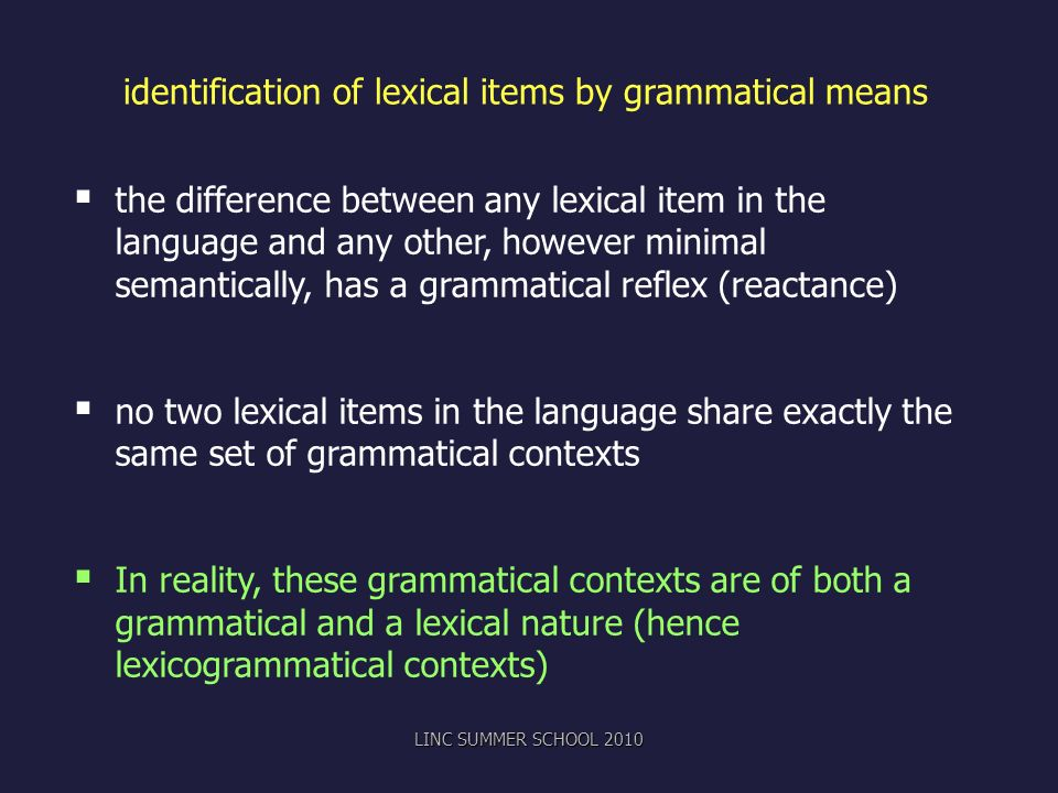 identification of lexical items by grammatical means