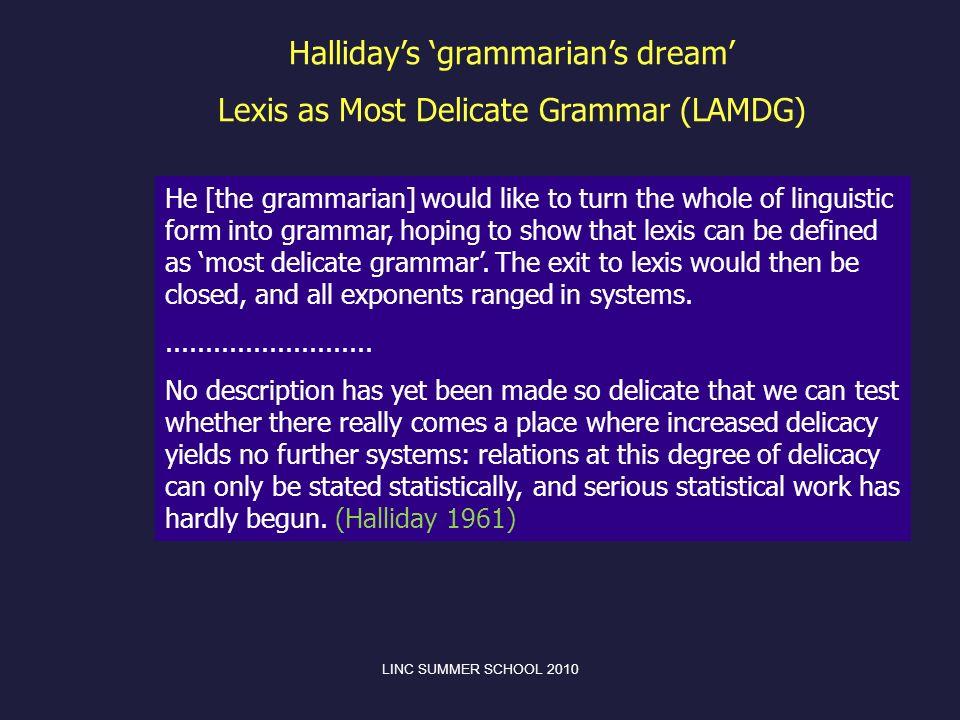 Halliday's 'grammarian's dream' Lexis as Most Delicate Grammar (LAMDG)