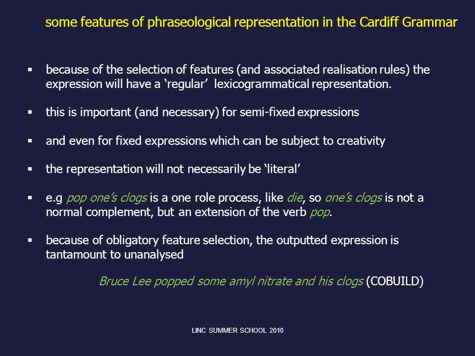 some features of phraseological representation in the Cardiff Grammar