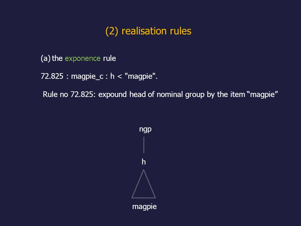(2) realisation rules the exponence rule