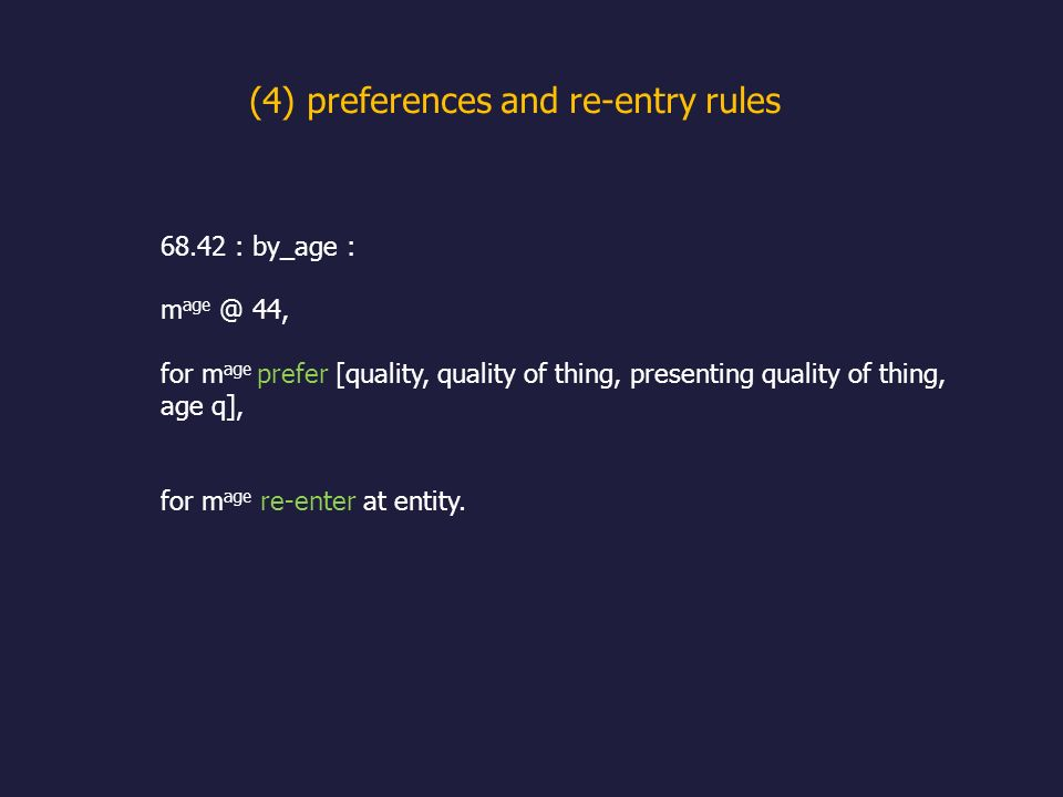 (4) preferences and re-entry rules