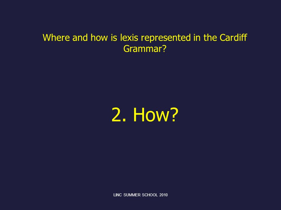 Where and how is lexis represented in the Cardiff Grammar