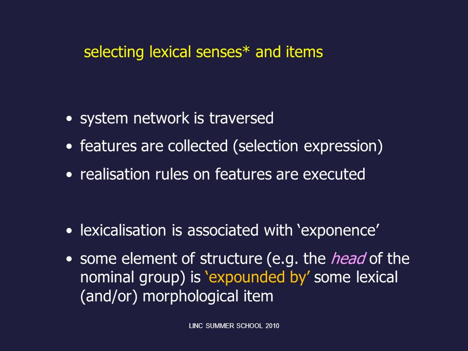 selecting lexical senses* and items