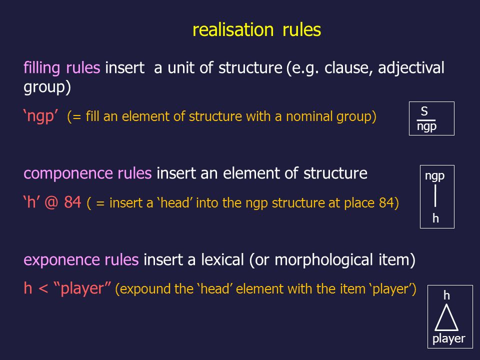 realisation rules filling rules insert a unit of structure (e.g. clause, adjectival group)