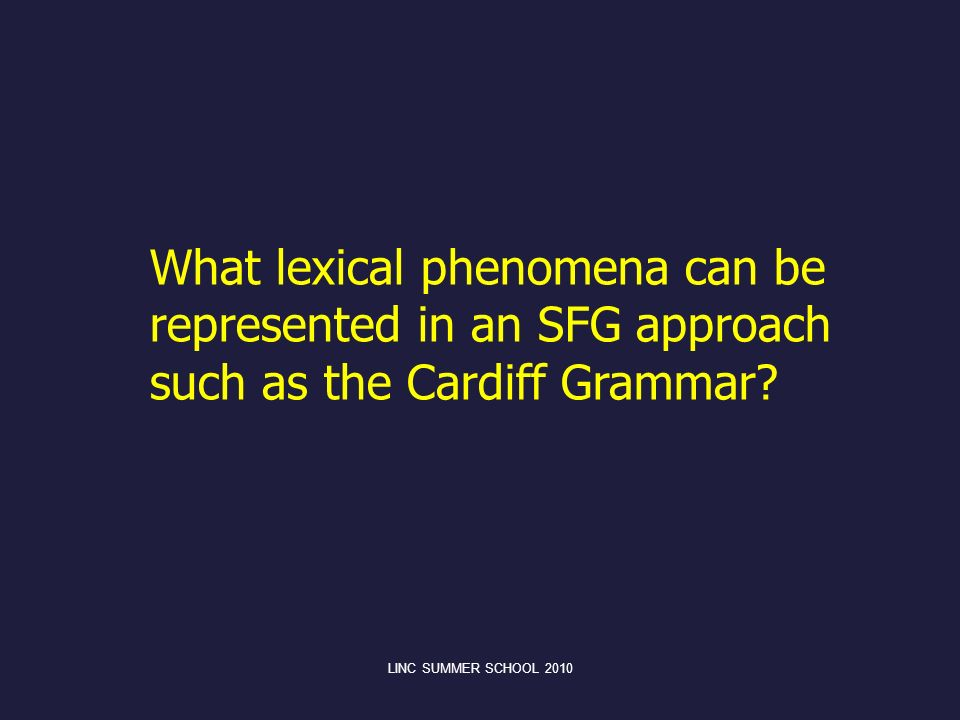 What lexical phenomena can be represented in an SFG approach such as the Cardiff Grammar