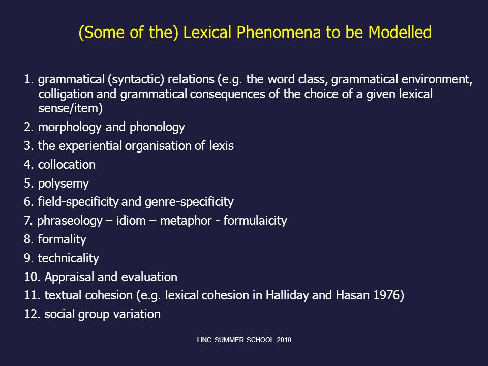 (Some of the) Lexical Phenomena to be Modelled