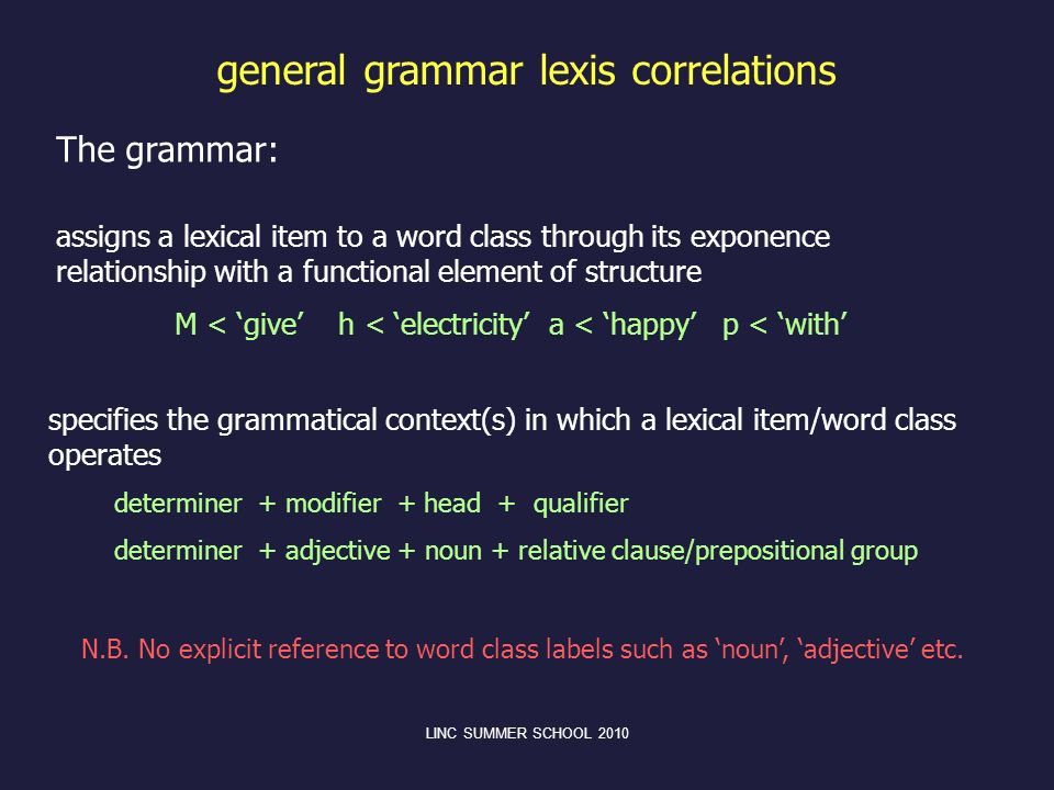 general grammar lexis correlations