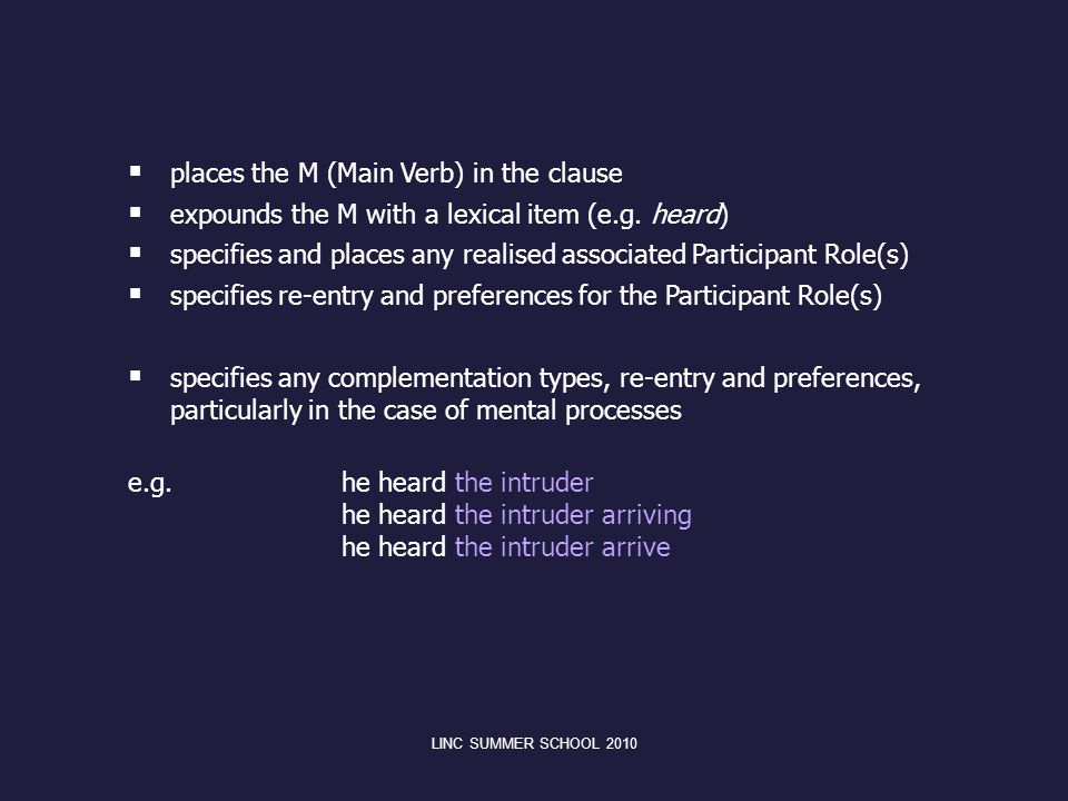 places the M (Main Verb) in the clause
