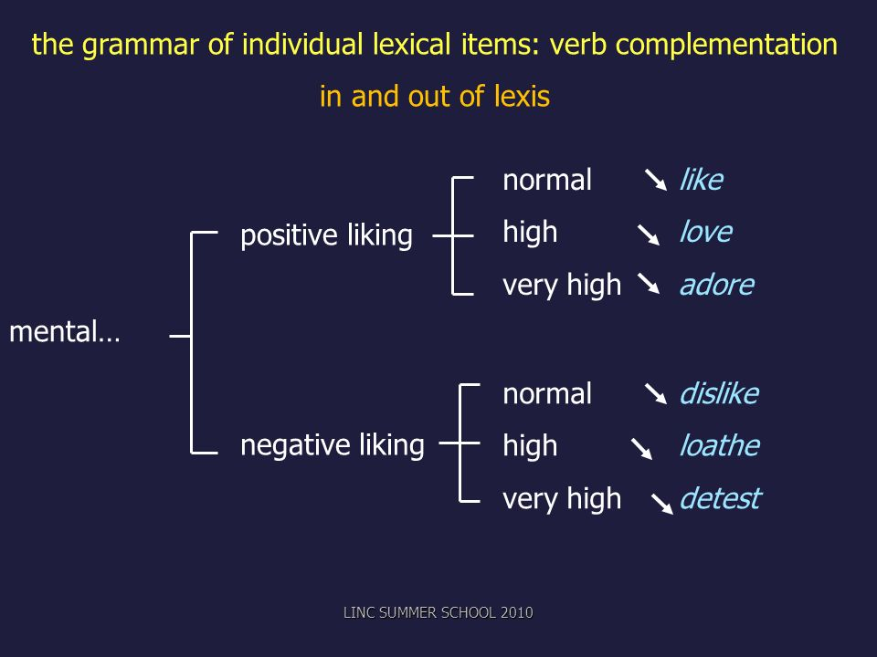 the grammar of individual lexical items: verb complementation