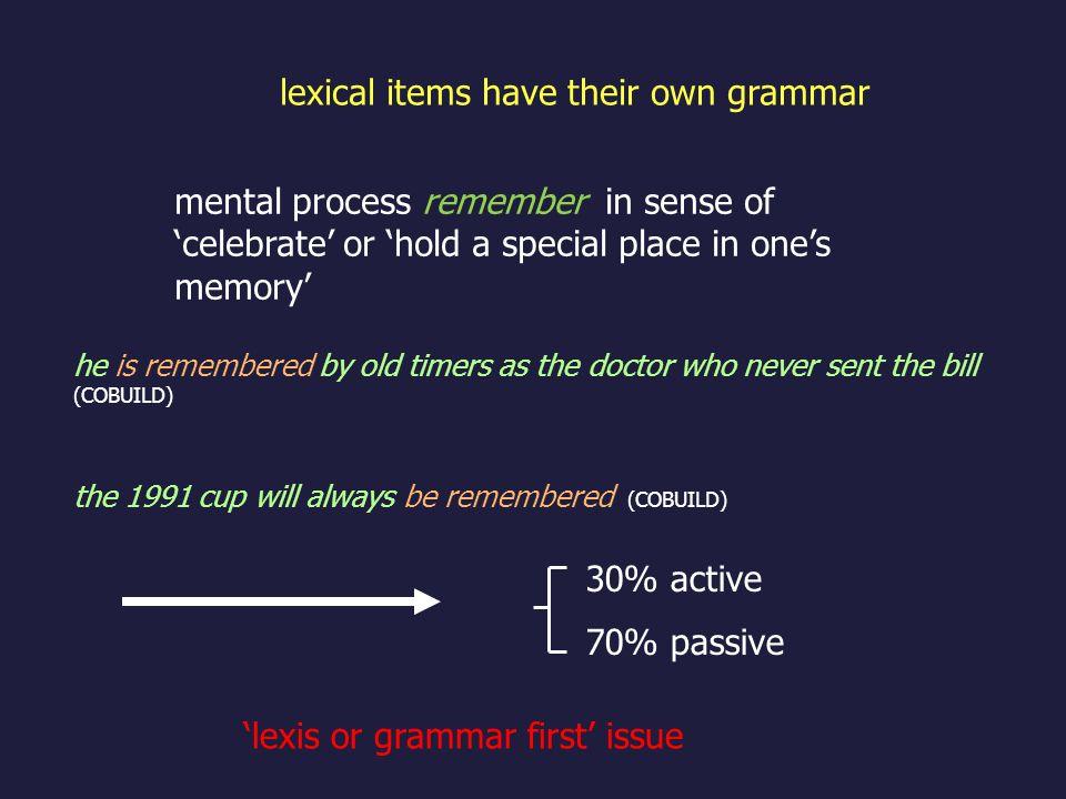 lexical items have their own grammar