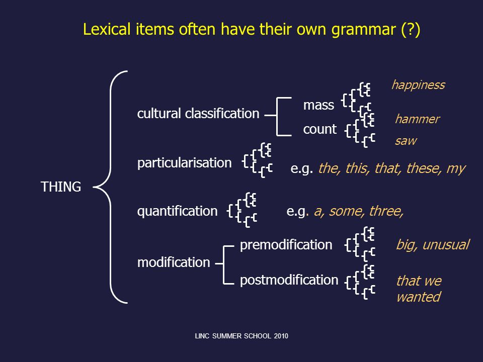 Lexical items often have their own grammar ( )