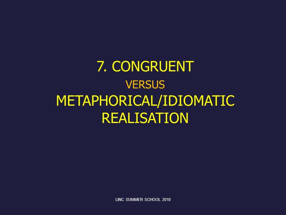 VERSUS METAPHORICAL/IDIOMATIC REALISATION