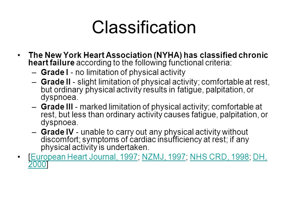 Classification The New York Heart Association (NYHA) has classified chronic heart failure according to the following functional criteria: