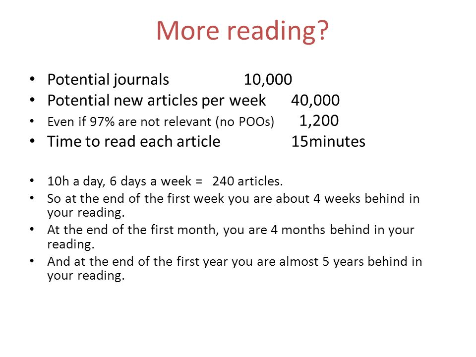 More reading Potential journals 10,000