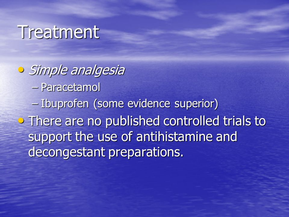 Treatment Simple analgesia