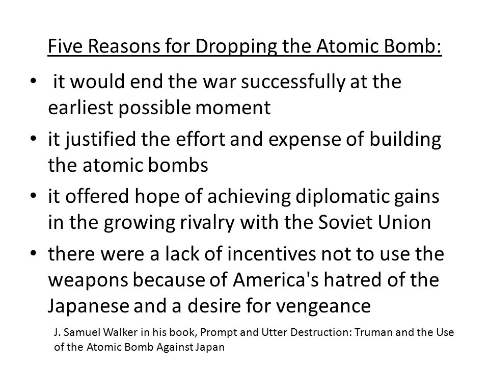 an argument in favor of the atom bombing of hiroshima and nagasaki Can we tell the truth about hiroshima 60 years  try to begin forming an argument against the bombing,  atomic bombing of hiroshima and nagasaki,.