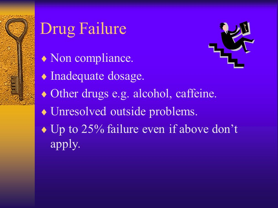 Drug Failure Non compliance. Inadequate dosage.