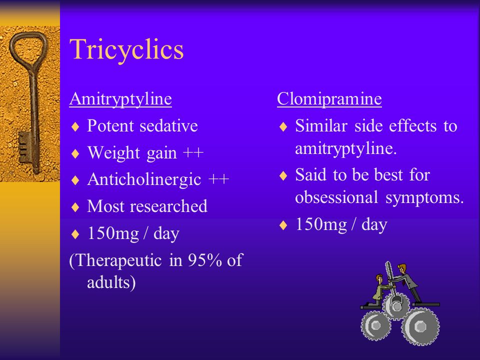 Tricyclics Amitryptyline Potent sedative Weight gain ++