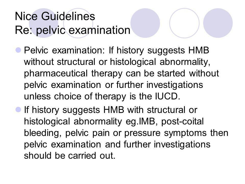 Nice Guidelines Re: pelvic examination
