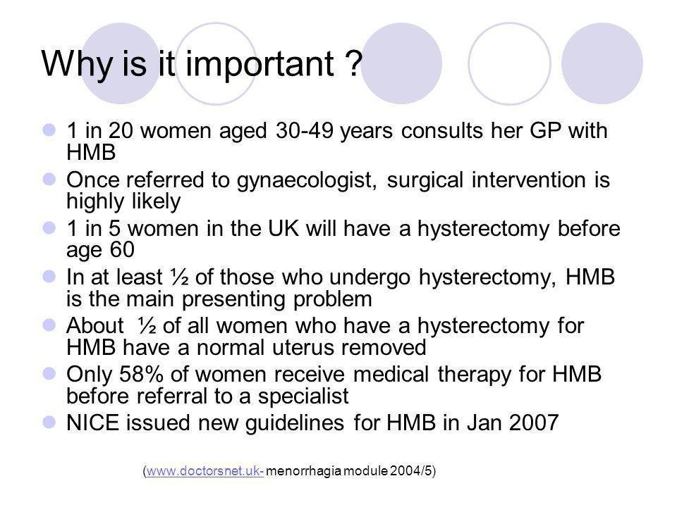 Why is it important 1 in 20 women aged years consults her GP with HMB.