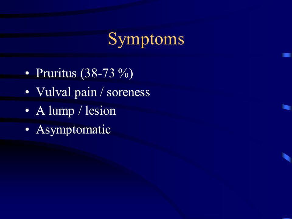 Symptoms Pruritus (38-73 %) Vulval pain / soreness A lump / lesion