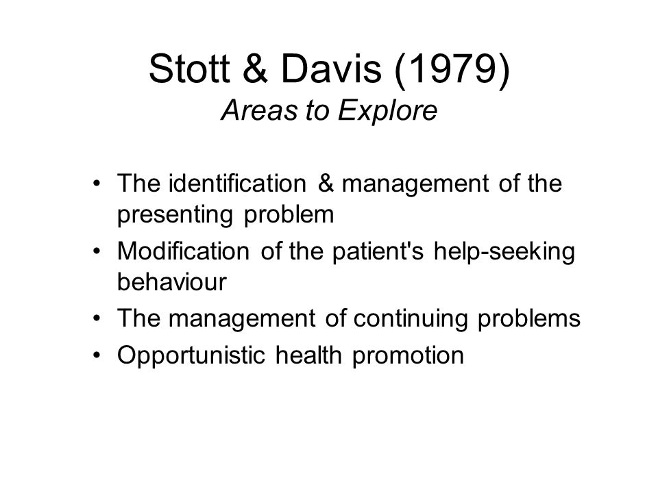 Stott & Davis (1979) Areas to Explore