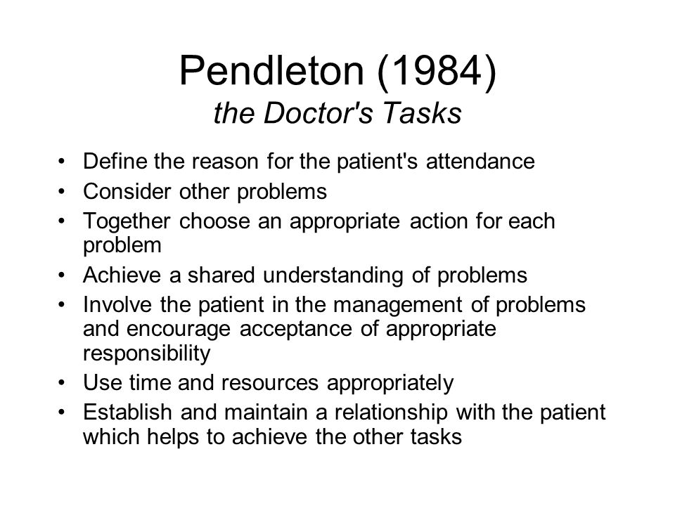 Pendleton (1984) the Doctor s Tasks