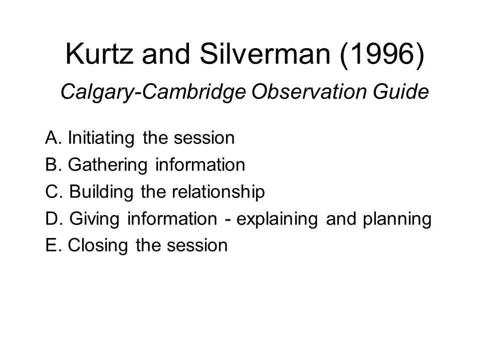 Kurtz and Silverman (1996) Calgary-Cambridge Observation Guide