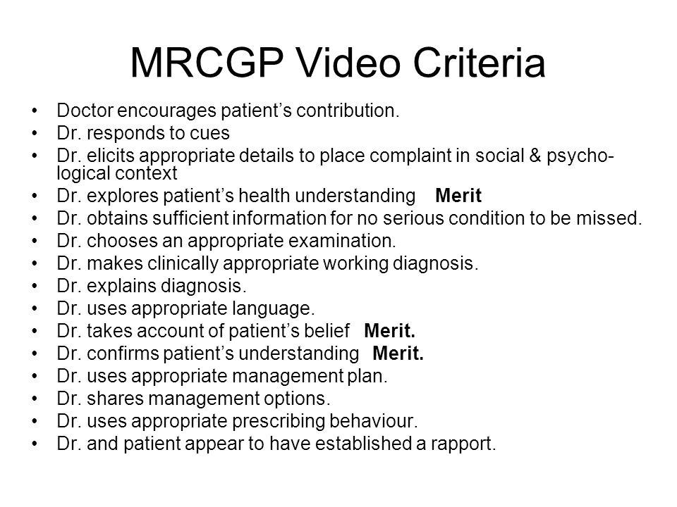 MRCGP Video Criteria Doctor encourages patient's contribution.