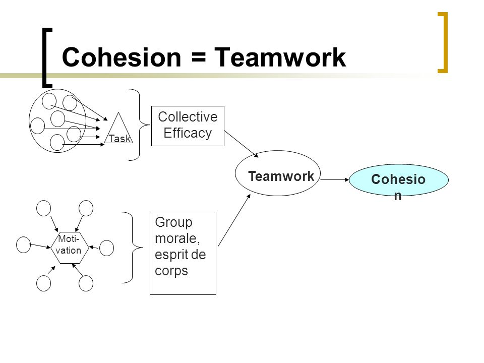 Cohesion = Teamwork Collective Efficacy Teamwork Cohesion