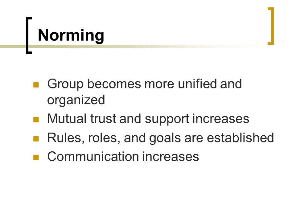 Norming Group becomes more unified and organized