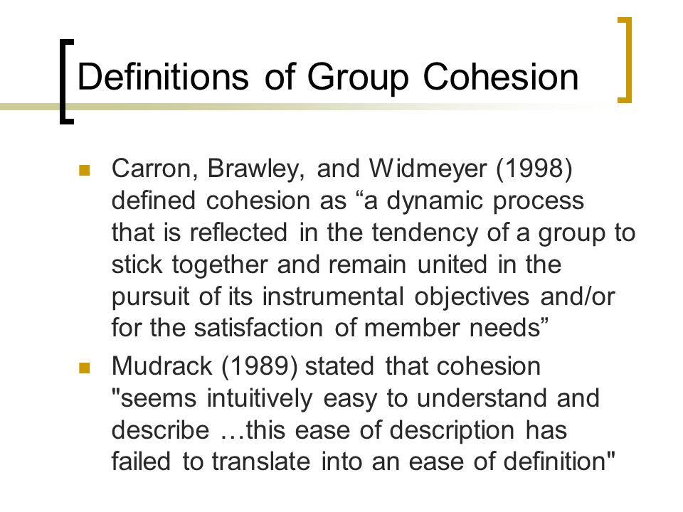 Definitions of Group Cohesion