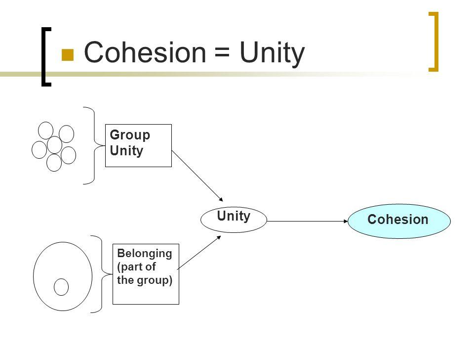 Cohesion = Unity Group Unity Unity Cohesion