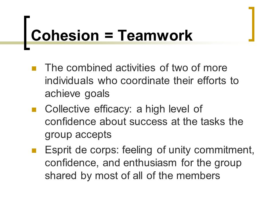 Cohesion = Teamwork The combined activities of two of more individuals who coordinate their efforts to achieve goals.