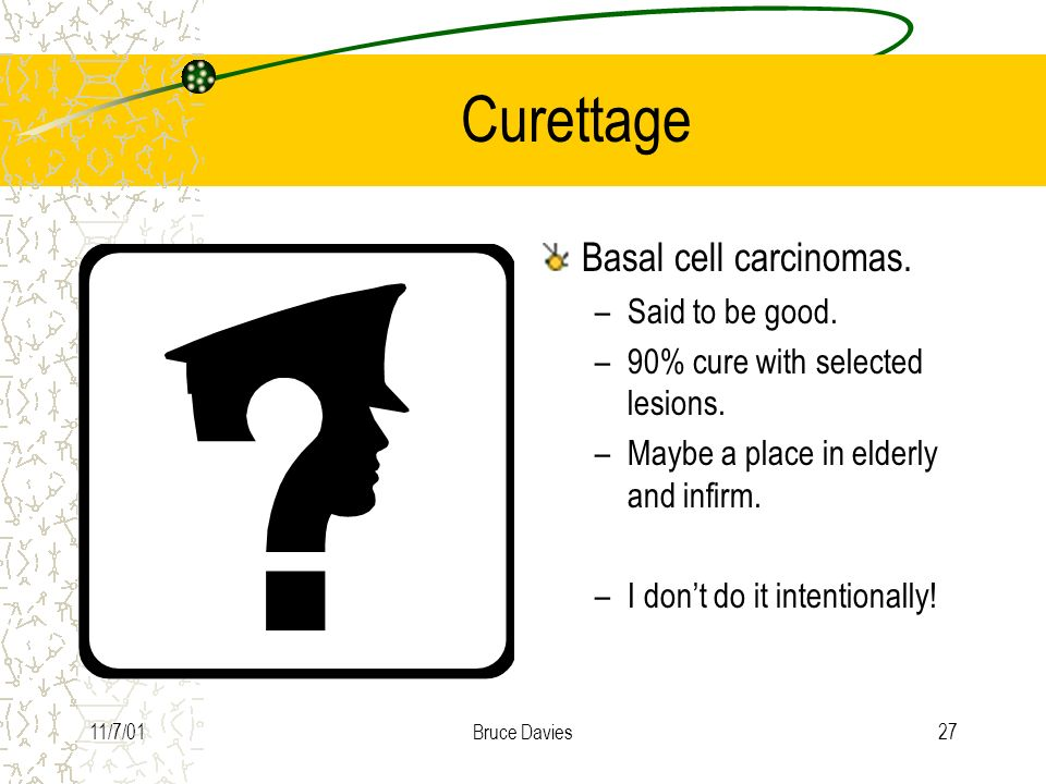 Curettage Basal cell carcinomas. Said to be good.