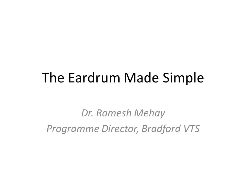 The Eardrum Made Simple