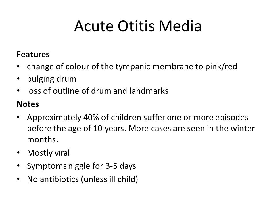 Acute Otitis Media Features