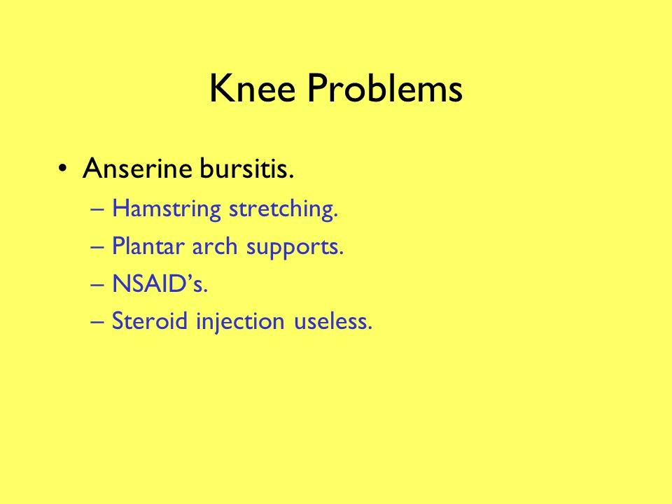 Knee Problems Anserine bursitis. Hamstring stretching.