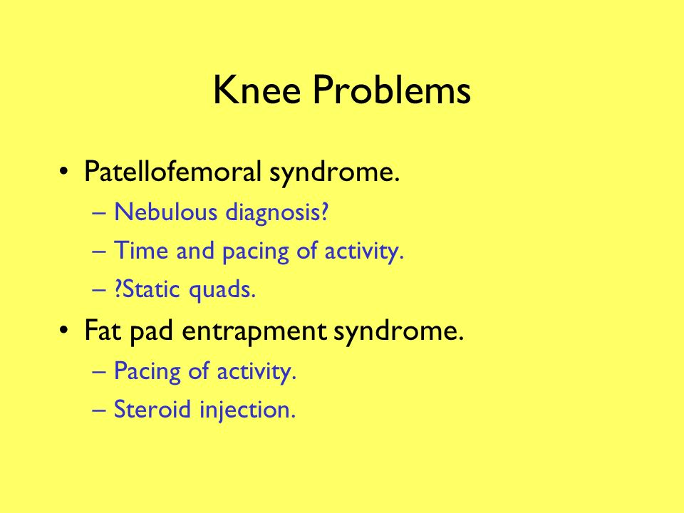 Knee Problems Patellofemoral syndrome. Fat pad entrapment syndrome.