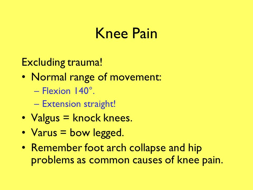 Knee Pain Excluding trauma! Normal range of movement: