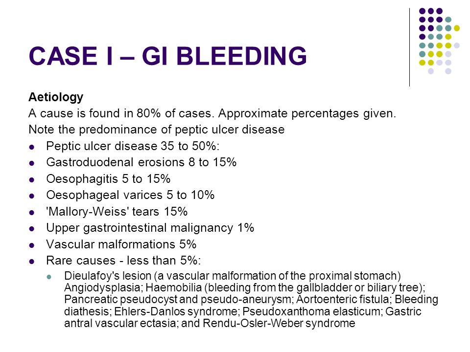 CASE I – GI BLEEDING Aetiology
