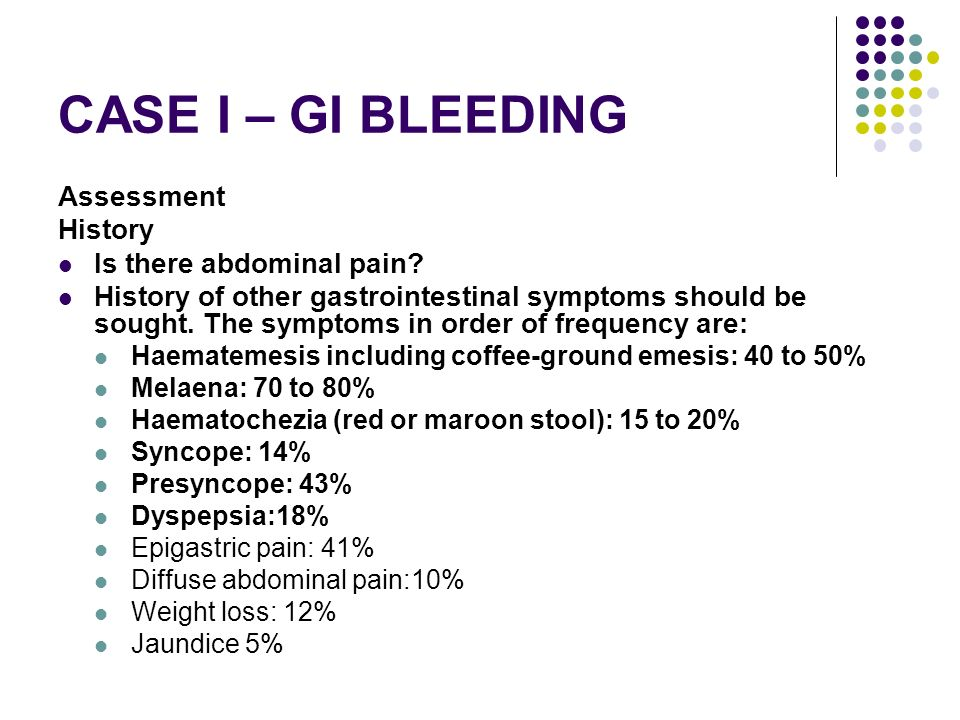 CASE I – GI BLEEDING Assessment History Is there abdominal pain
