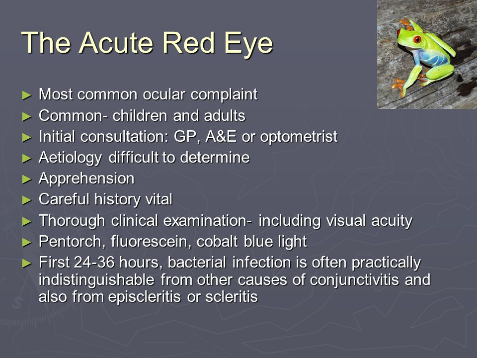 The Acute Red Eye Most common ocular complaint