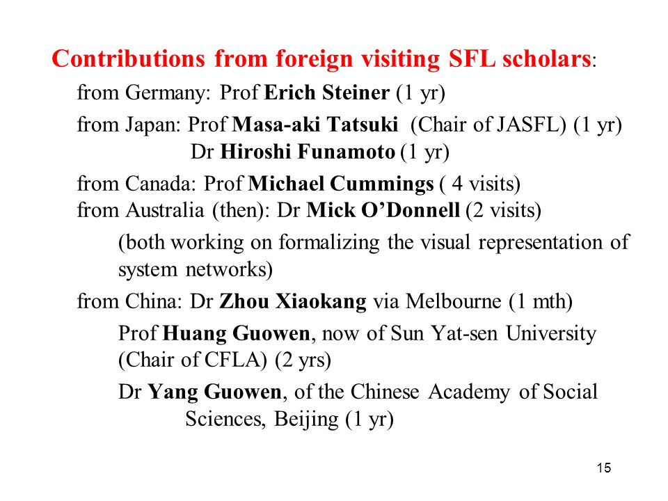 Contributions from foreign visiting SFL scholars: