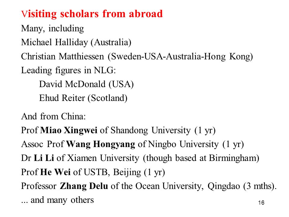 Visiting scholars from abroad